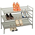 Seville Classics 3-Tier Mesh Multi-Position Shoe Rack in Silver