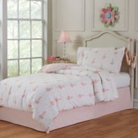 Lullaby Bedding Ballerina 3-Piece Full/Queen Duvet Cover Set in Pink/White