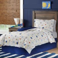 Lullaby Bedding Space 4-Piece Queen Comforter Set in White/Blue