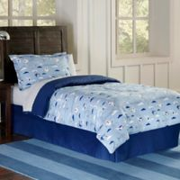 Lullaby Bedding Airplanes 3-Piece Full/Queen Duvet Cover Set in Blue/White