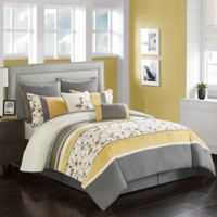 Palma 8-Piece King Comforter Set in Yellow/Grey
