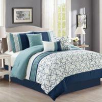 Lucas 7-Piece Queen Comforter Set in Blue