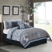 Elight Home Daisy 7-Piece King Comforter Set in Grey