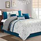 Aiden Floral Embroidered 7-Piece King Comforter Set in Teal
