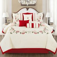 Calla Embroidered 7-Piece Queen Comforter Set in White