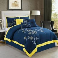 Elight Home Violet 7-Piece King Comforter Set in Navy