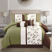 Elight Home Woodchase 7-Piece King Comforter Set in Sage/Brown