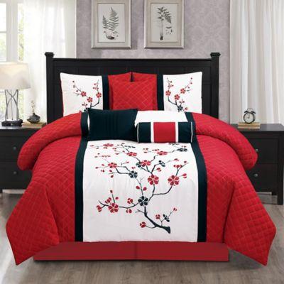 Elight Home Sakura 7 Piece Queen Comforter Set In Red