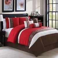 Amberlyn 7-Piece King Comforter Set in Burgundy