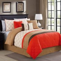 Elight Home Orelia 4-Piece King Comforter Set in Orange