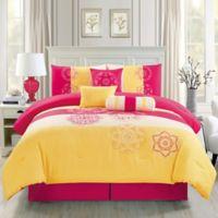 2ff7441596 Elight Home Carlotta 7-Piece King Comforter Set in Yellow/Pink