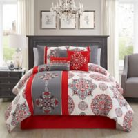 Elight Home Precious 7-Piece King Comforter Set in Red