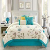 Elight Home Teagan 7-Piece Queen Comforter Set in White/Blue