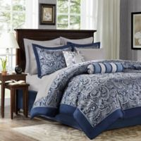 Madison Park Aubrey 12-Piece Reversible King Comforter Set in Navy