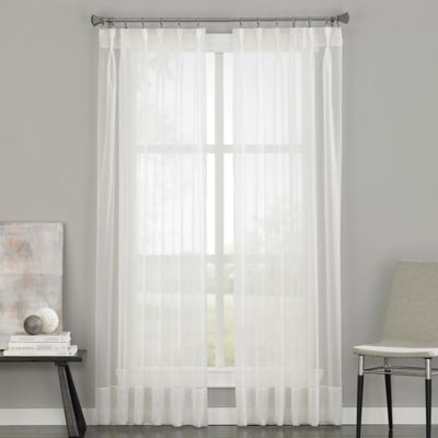 Soho Voile Pinch Pleat 84 Inch Rod Pocket Window Curtain Panel In Oyster