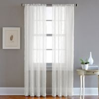 Pintuck 63-Inch Rod Pocket Sheer Window Curtain Panel in White