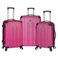 Traveler's Club® Chicago 3-Piece Hardside Spinner Luggage Set in Fuchsia