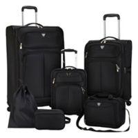 Travelers Club® Hartford 6-Piece Soft Side Luggage Set in Black