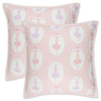 Lullaby Bedding Ballerina Quilted European Pillow Shams in Pink/White (Set of 2)