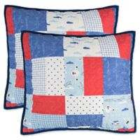 Lullaby Bedding Airplane Quilted European Pillow Shams in Red/Blue (Set of 2)