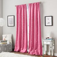 Starry Night 84-Inch Rod Pocket Window Curtain Panel in Pink