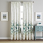 Watercolor Floral 84-Inch Rod Pocket Window Curtain Panel in Aqua