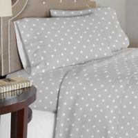 Lullaby Bedding Space Queen Sheet Set in Grey/White