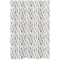Sweet Jojo Designs Feather Shower Curtain in Coral/Turquoise
