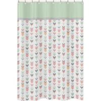 Sweet Jojo Designs Mod Arrow Shower Curtain in Coral/Mint