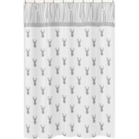 Sweet Jojo Designs Stag Shower Curtain in Grey/White