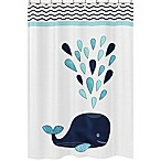 Sweet Jojo Designs Whale Shower Curtain in Turquoise/ Navy