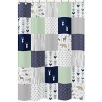 Sweet Jojo Designs Woodsy Shower Curtain in Navy/Mint
