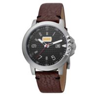 Just Cavalli Rock Rock Men's 42mm Watch in Stainless Steel with Brown Leather Strap