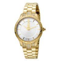 Just Cavalli Animal Chantilly Ladies' 34mm Crystal-Accented Watch in Goldtone Stainless Steel