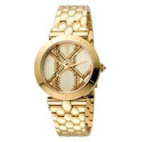 Just Cavalli Animal Devore Ladies' 34mm Watch in Goldtone Stainless Steel