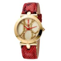 Just Cavalli Animal Devore Ladies' 34mm Watch in Goldtone Stainless Steel with Red Leather Strap