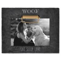 "Grasslands Road® ""Woof Eat Sleep Love"" 4-Inch x 6-Inch Cement Clip Picture Frame in Black"
