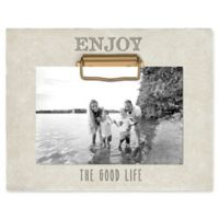 """Grasslands Road® """"Enjoy the Good Life"""" 4-Inch x 6-Inch Cement Clip Picture Frame in Ivory"""