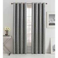 Mosiac Tria Lined 84-Inch Grommet Top Window Curtain Panel in Graphite