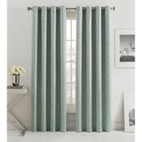 Mosiac Tria Lined 84-Inch Grommet Top Window Curtain Panel in Silver Sage