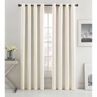 Mosiac Tria Lined 84-Inch Grommet Top Window Curtain Panel in Snow White