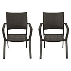 Barrington Square Stacking Wicker Chairs in Slate (Set of 2)