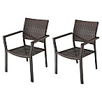 Barrington Square Stacking Wicker Chairs in Brown (Set of 2)