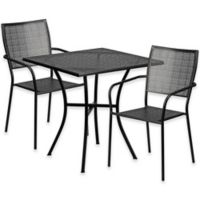 Flash Furniture 3-Piece 28-Inch Square Steel Patio Table and Square Chairs Set in Black
