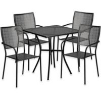 Flash Furniture 5-Piece 28-Inch Square Steel Patio Table and Square Chairs Set in Black