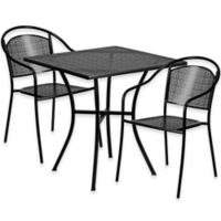 Flash Furniture 3-Piece 28-Inch Square Steel Patio Table and Curved Chairs Set in Black