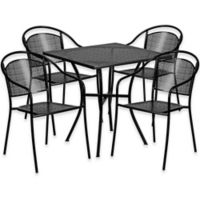 Flash Furniture 5-Piece 28-Inch Square Steel Patio Table and Curved Chairs Set in Black