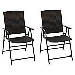 Barrington  Folding Wicker Chairs in Brown (Set of 2)