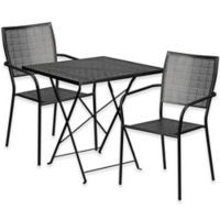 Flash Furniture 3-Piece Metal Patio Folding Table and Square-Back Chairs Set in Black