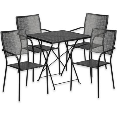 Flash Furniture 5 Piece Metal Patio Folding Table And Square Back Chairs  Set In